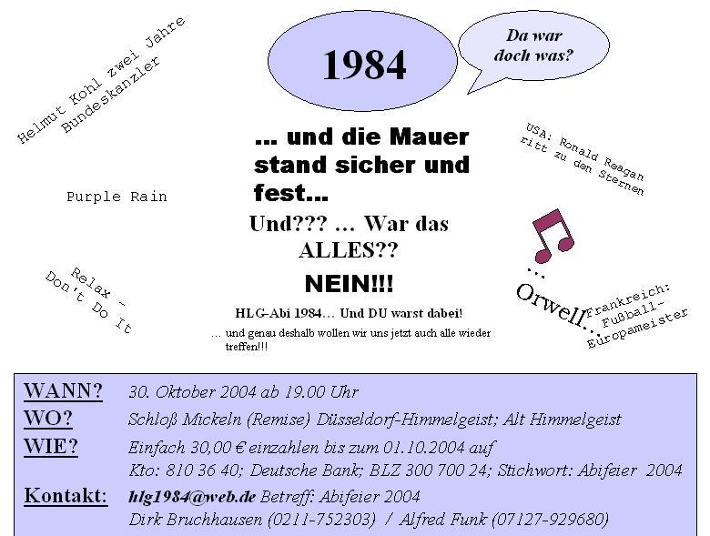 gsg düsseldorf - ehemalige - kalender für klassentreffen, Einladung